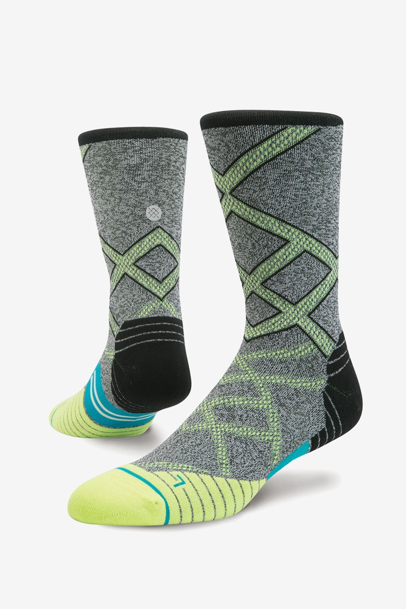 Men's Endeavor Crew Socks, Grey/Lime Green