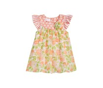 Bonnie Baby Baby Girls Flutter Sleeves Romper with Peaches-Print Overlay, Coral Combo