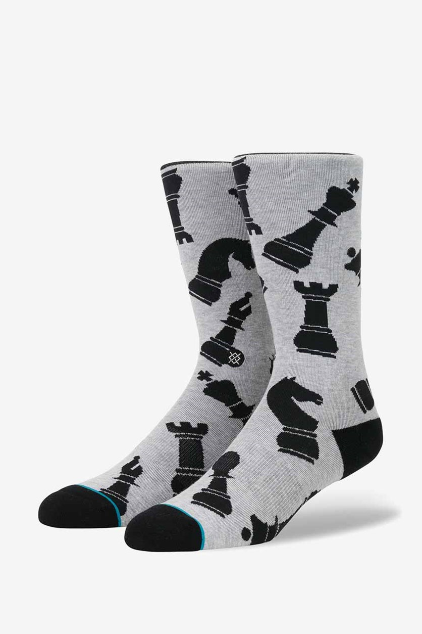 Men's Chess Piece Kt Socks, Heather Gray/Black