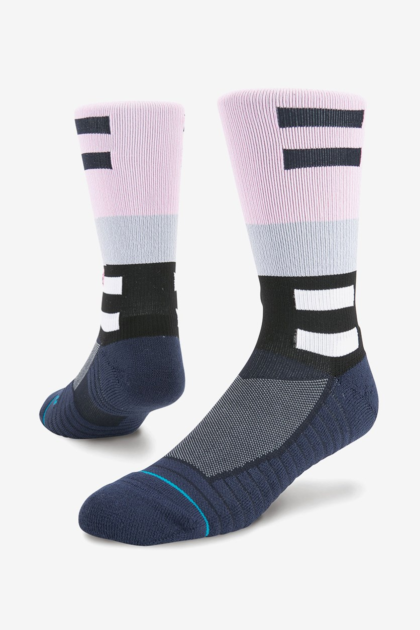 Men's  Russs Crew Socks, Navy/Pink/Black