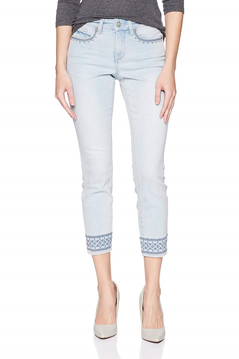 Ami Skinny Ankle with Border Embriodery Skinny Jeans, Palm Dessert
