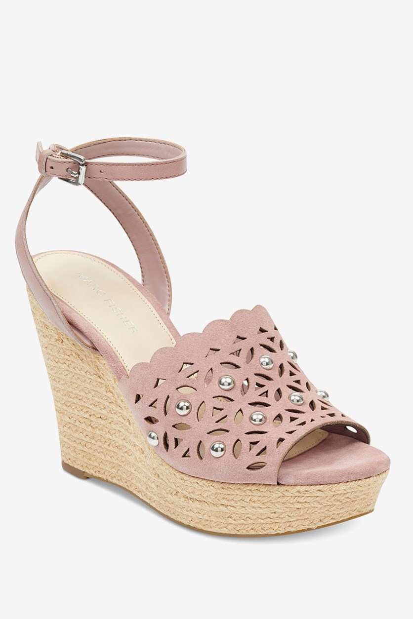 Hata Wedge Sandals,  Lilac Pink
