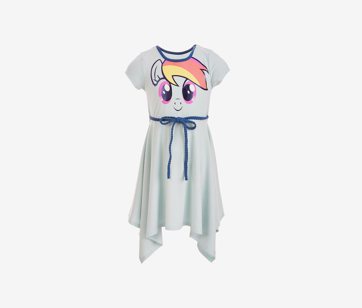 Little Girls Ribbed Graphic-Print Dress, Ice Blue