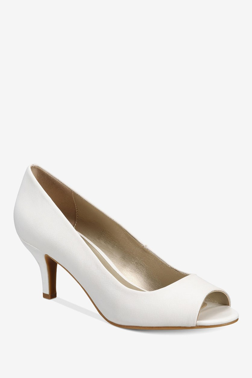 Women's Mory Peep-Toe Pumps, White
