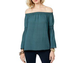 Michael Kors Women's Gingham Off-the-shoulder Top, Turquoise