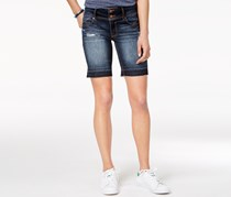Tinseltown Juniors Ripped Denim Bermuda Short, Dark Wash