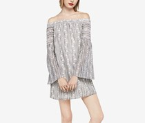 BCBGeneration Off-The-Shoulder Bell-Sleeve Lace Dress, Stone Grey