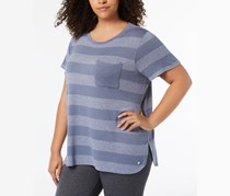 Calvin Klein Plus Size Striped T-Shirt, Steel Blue Combo