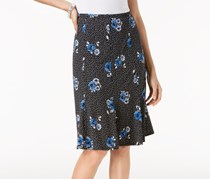 Ny Collection Petite Printed A-Line Skirt, Black/Blue