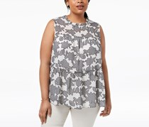 Women  Plus Size Printed Ruffle Top, Off White/Black