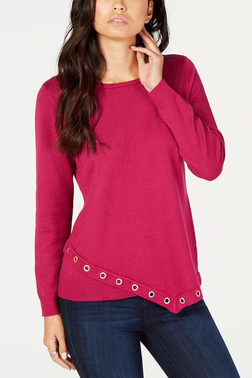 Petite Grommet-Trim Top,  Berried Secrets