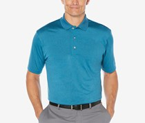 Pga Tour Men's Heathered Golf Polo Shirt, Blue