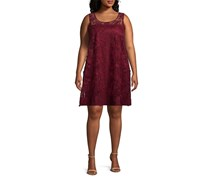 Signature By Robbie Bee Plus Size Illusion Floral-Embroidered Shift Dress, Maroon