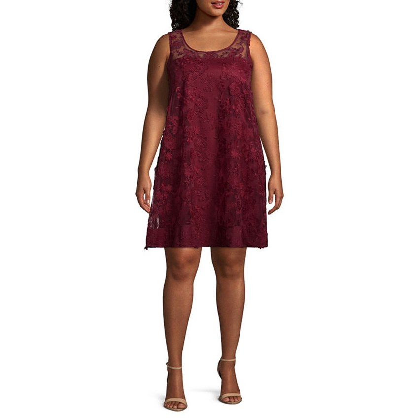 Plus Size Illusion Floral-Embroidered Shift Dress, Maroon