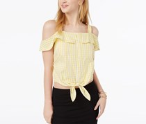 Ultra Flirt Juniors Cotton Cold-Shoulder Tops, Yellow/White Gingham