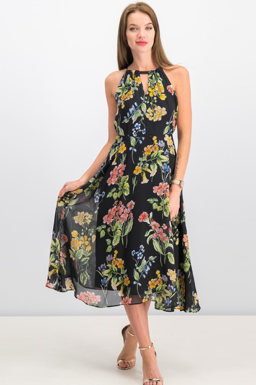 Women Floral Sleeveless Dress, Black Combo