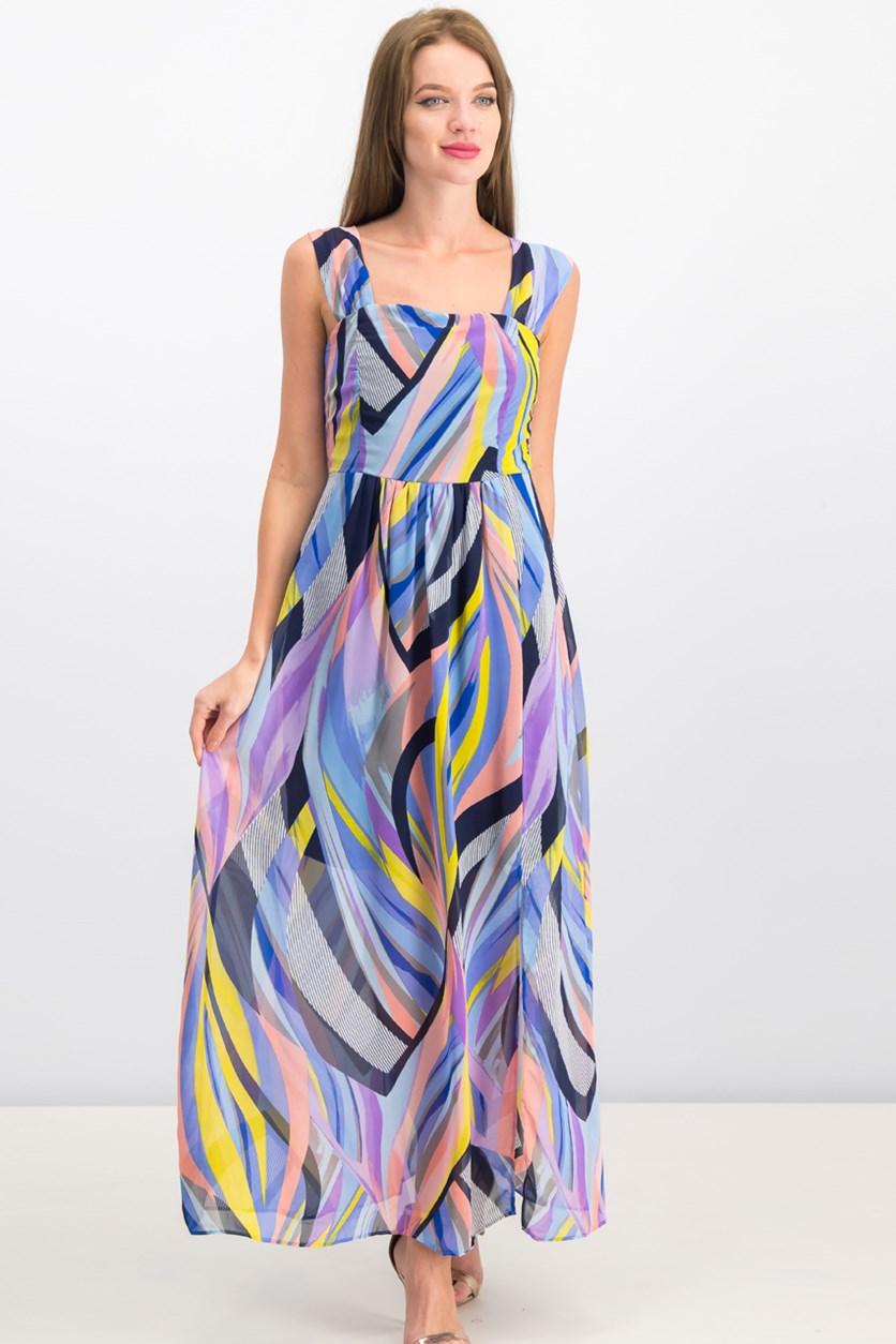 Women Sleeveless Maxi Dress, Blue/Pink/Yellow Combo