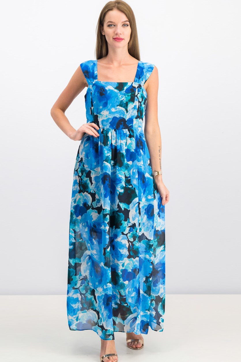 Women Sleeveless Maxi Dress, Navy Blue Combo