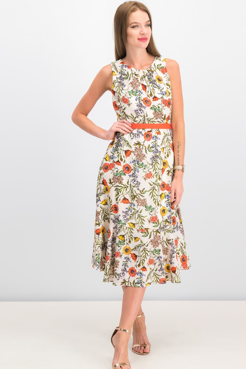 Women Floral Print Dress, Ivory/Orange Combo