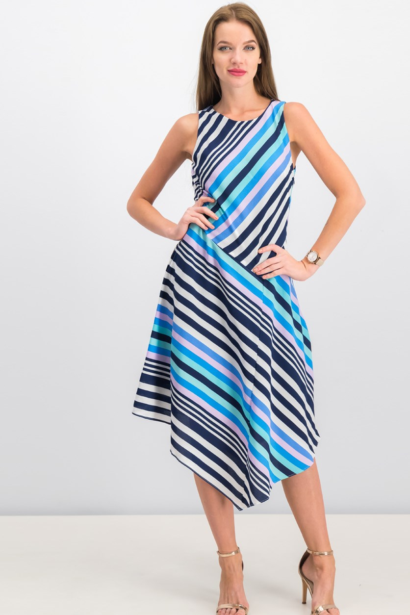 Women Striped Handkerchief Hem Dress, Blue/Navy/White Combo