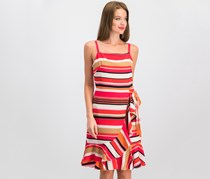 Women Retro-Stripe Knee-Length Party Dress, Pink/Orange/Red Combo