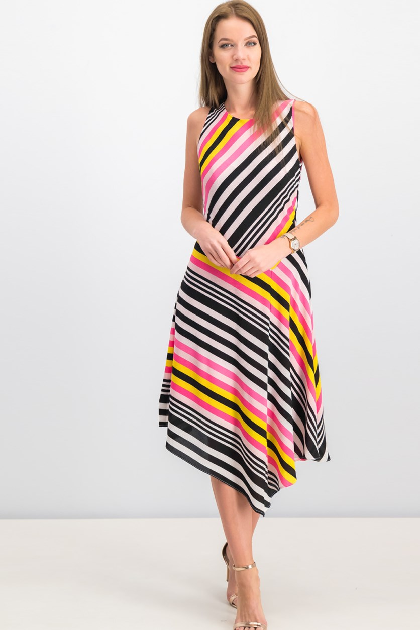 Women Striped Handkerchief Hem Dress, Pink/Black/White Combo
