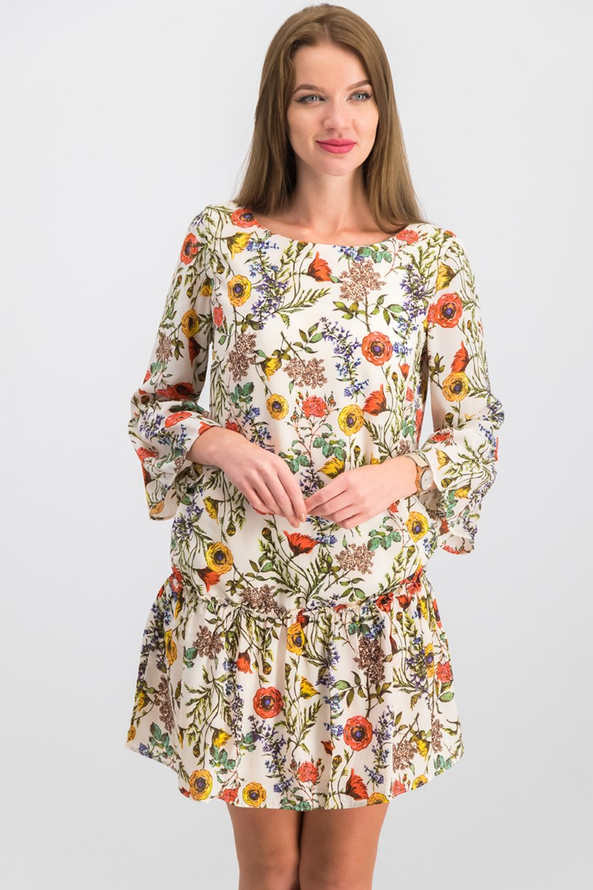 Women Floral Print Dress, Ivory Floral Combo