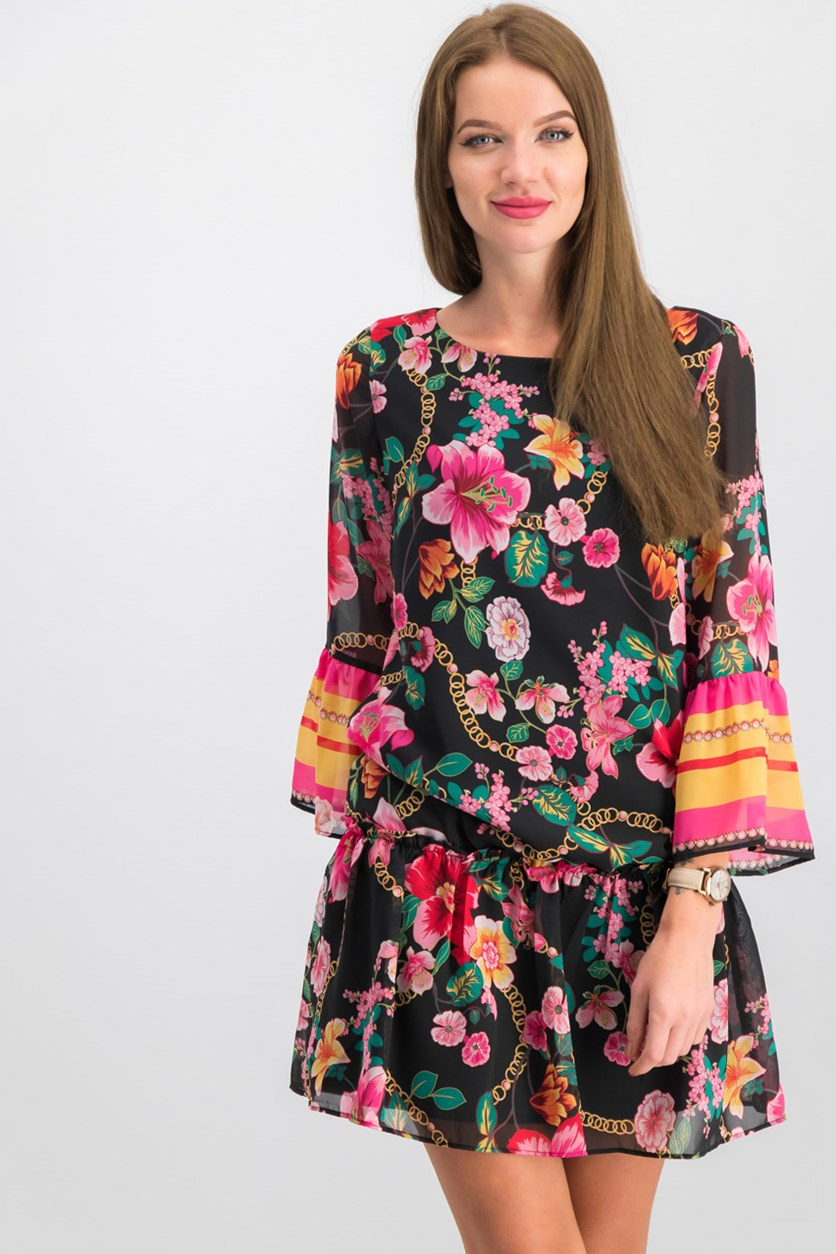 Women Floral Peplum Shift Dress, Black/Pink Combo