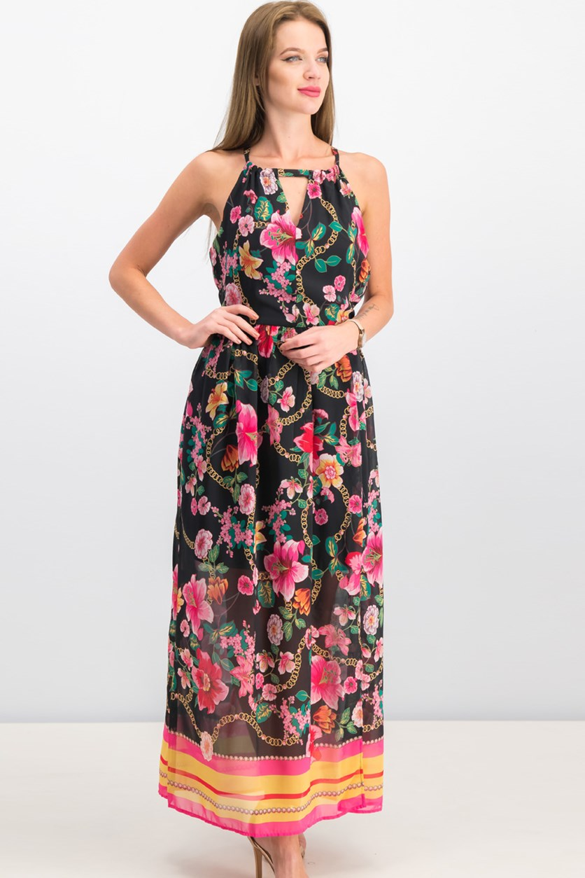 Women Floral Maxi Dress, Black/Pink Combo