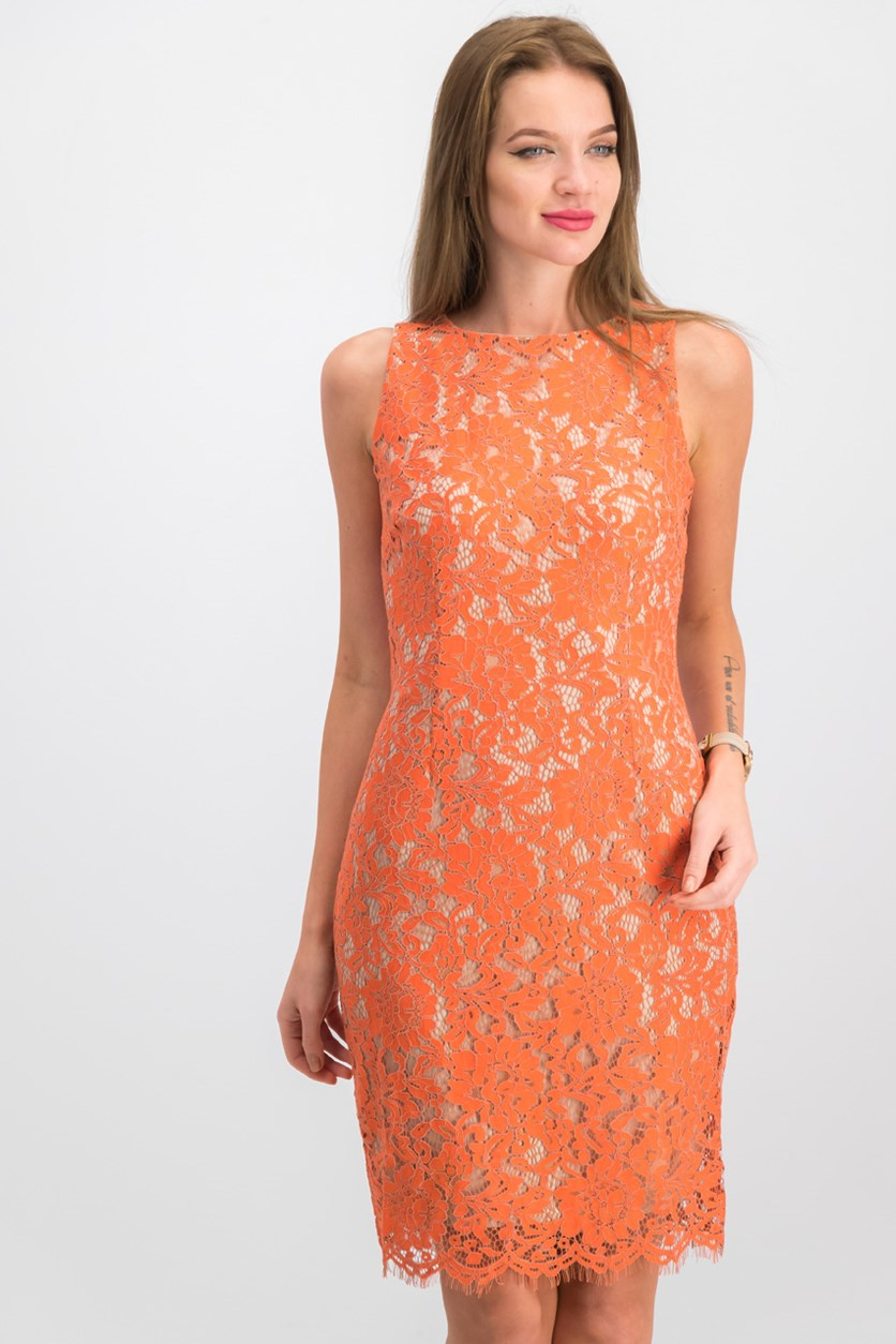 Women Lace Sheath Dress, Orange