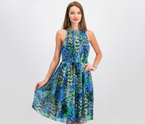 Women Floral Pleated Dress, Blue Combo