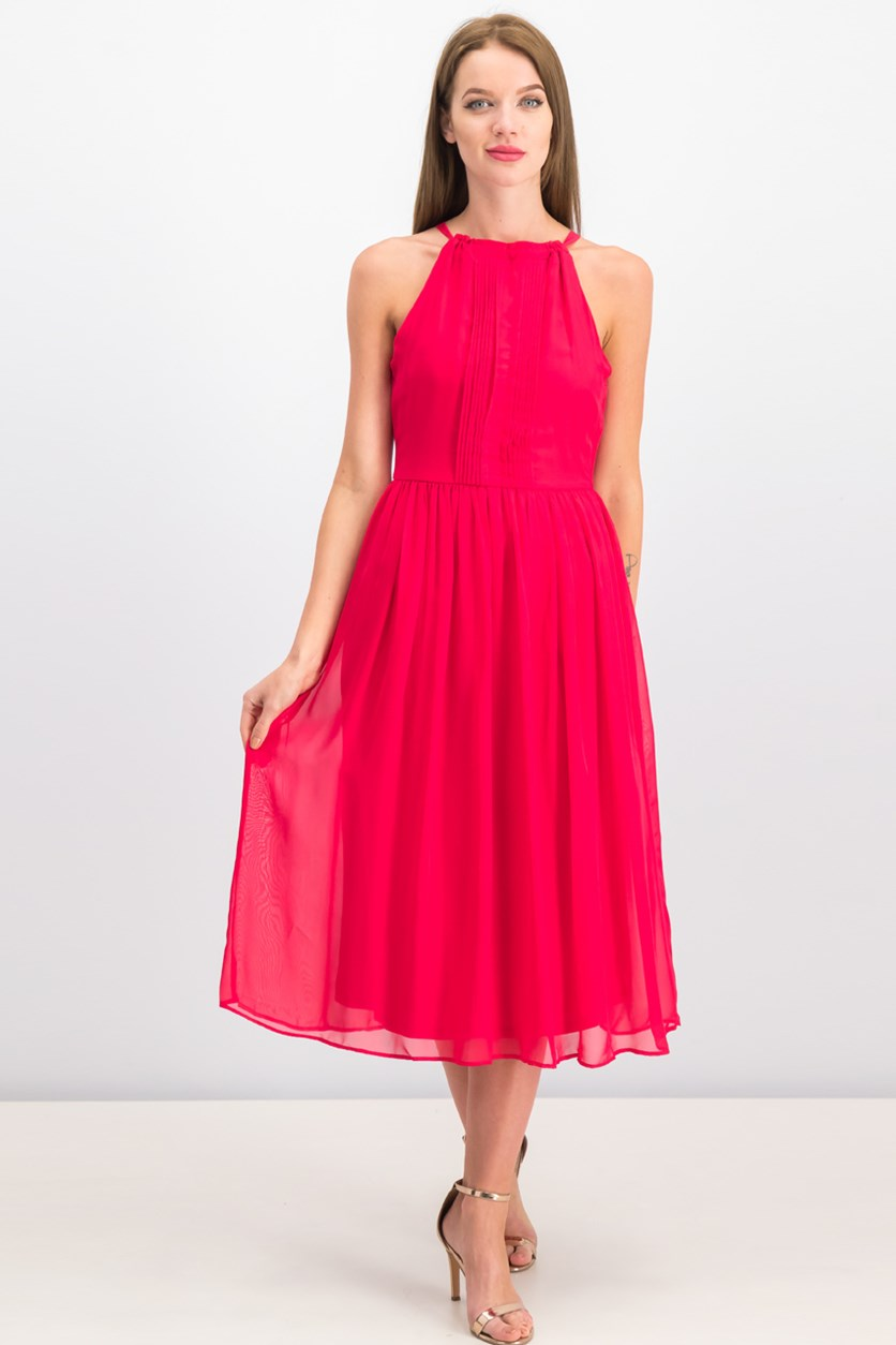 Women Pleated Dress, Hot Pink