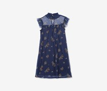 Speechless Big Girls Floral-Print Dot-Mesh, Navy/Yellow