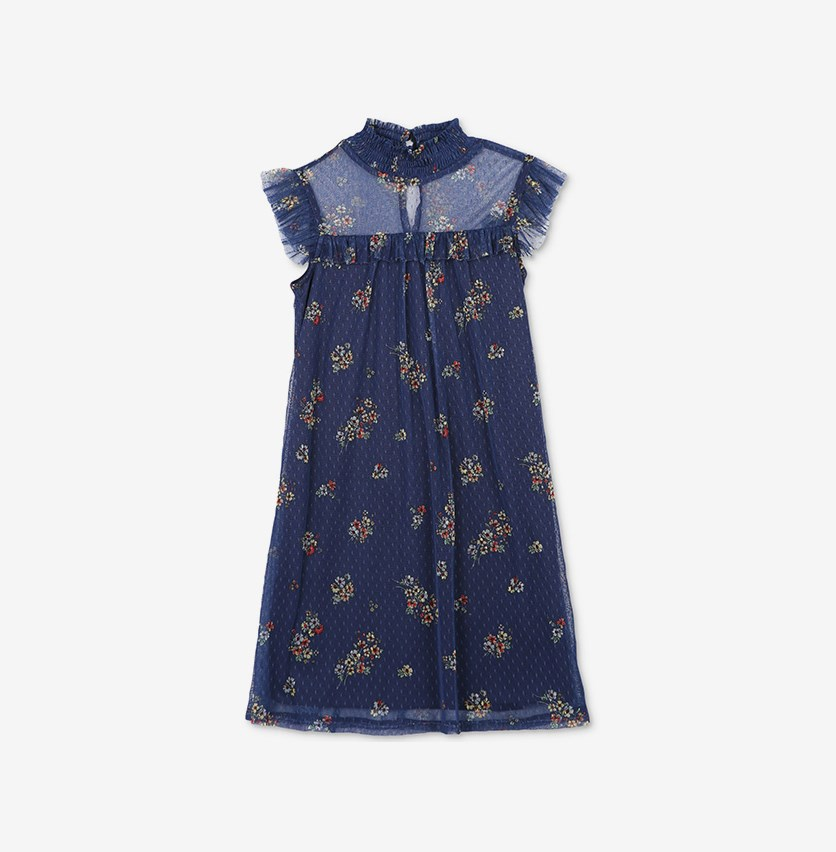 Big Girls Floral-Print Dot-Mesh, Navy/Yellow