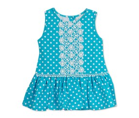 Rare Editions Girls' Dot-Print Drop-Waist Dress, Blue