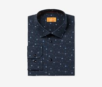 Tallia Men's Fitted Jacquard Mini Flowers On Solid Ground Dress Shirt, Navy