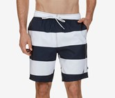 Nautica Men's Quick Dry Striped Swim Trunks, Navy/White