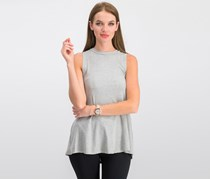 Audrey 3+1 Stripe Open Back Tops, Gray/White