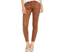 Indigo Blue Women's Zipper-Trim Skinny Jeans, Camel