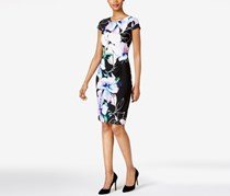 Connected Petite Floral Ruched Sheath Dress, Lavender/Black Combo