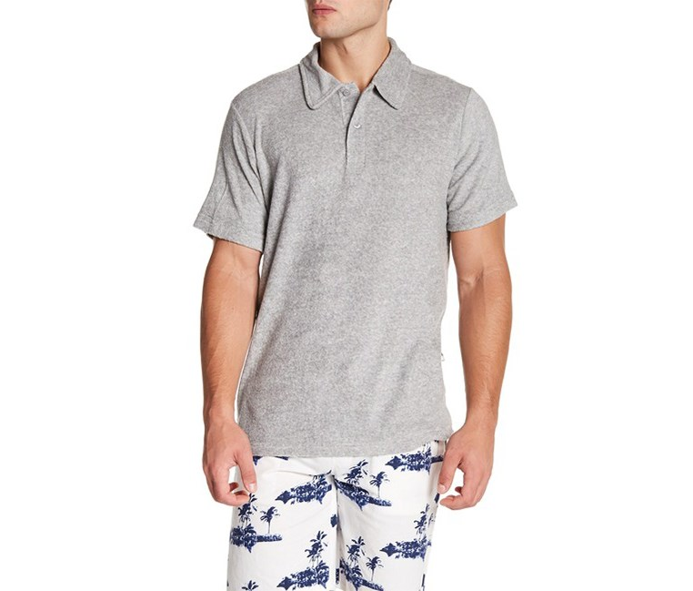 Trunks Surf & Swim Co Cotton-Blend Terry Cloth Polo Shirt, Grey