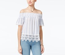 Crave Fame Women's Printed Lace-Trim Off-The-Shoulder Top, Blue/White