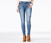 Vanilla Star Women's Embroidered Skinny Ankle Jeans, Blue