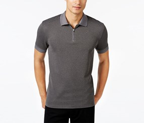 Vince Camuto Men's Waffle-Knit Quarter-Zip Strech Polo, Grey