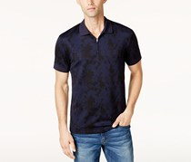 Vince Camuto Men's Waffle-Knit Quarter-Zip Strech Polo, Navy
