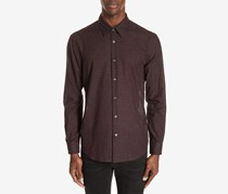 John Varvatos Windowpane Check Sport Shirt, Bordeaux