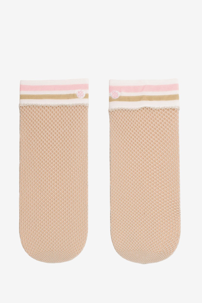 Women's Sheer Anklet Socks, Pink Combo