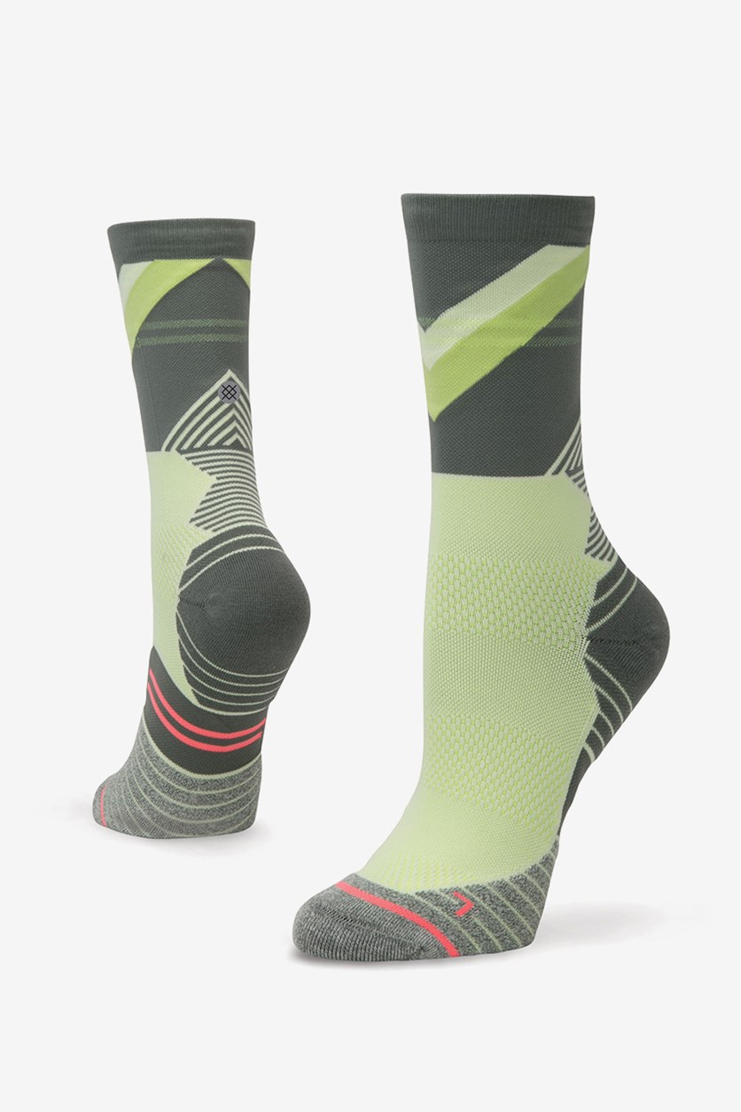 Women's Wind Crew Socks, Gray/Lime Green