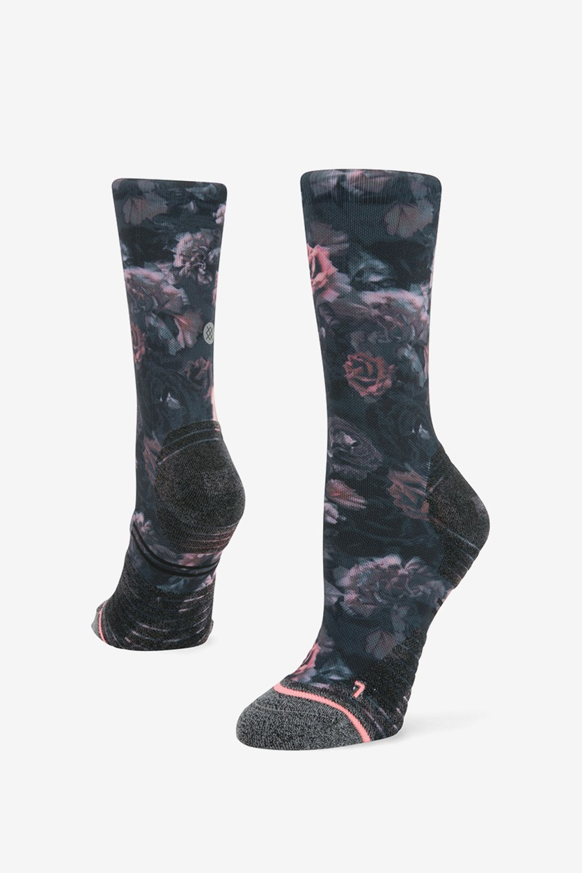 Women's Smell The Roses Socks, Black