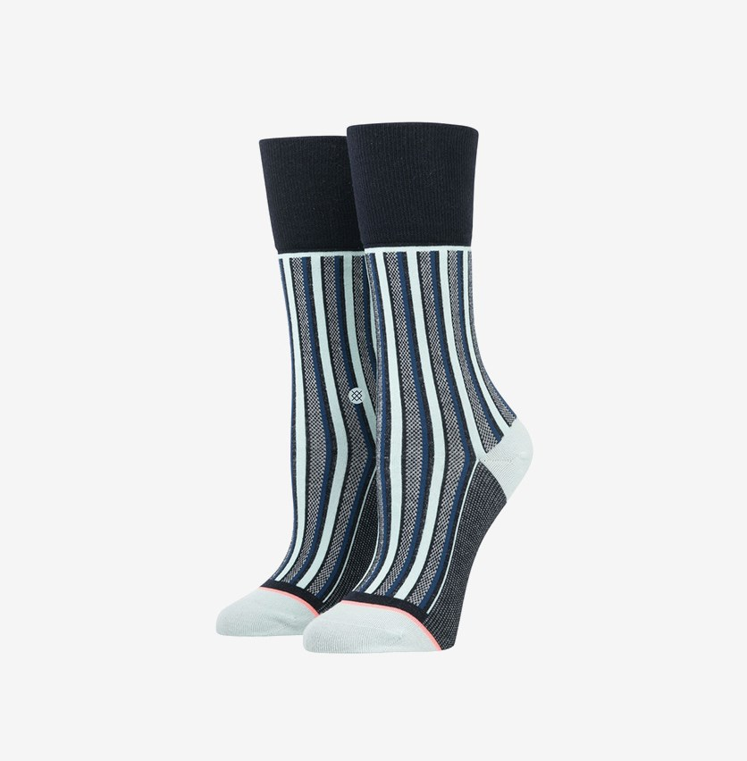 Women's Stripe Up Socks, Navy